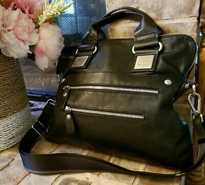 NICOLI Black Leather Tote Handbag Travel Organizer Purse Shoulder Bag Italy