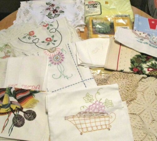 Lot Of 21 Pieces Of Mostly Vintage Linens, Doilies, Runners, Tablecloths, Towels