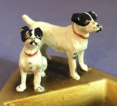 vintage ashtray or pin dish with tiny Jack Russel Terriers cold painted dogs