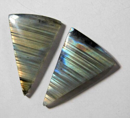 58.70 Cts Natural Labradorite (37.5mm X 24.5mm each) Cabochon Match Pair