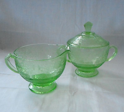 Depression Glass Hazel Atlas Florentine #1 Green Creamer Sugar and Sugar Lid Set