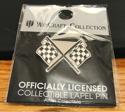 NASCAR RACING CHECKERD FLAGS PIN CHROME BLACK & WHITE ALFILER - Checkerd Flags