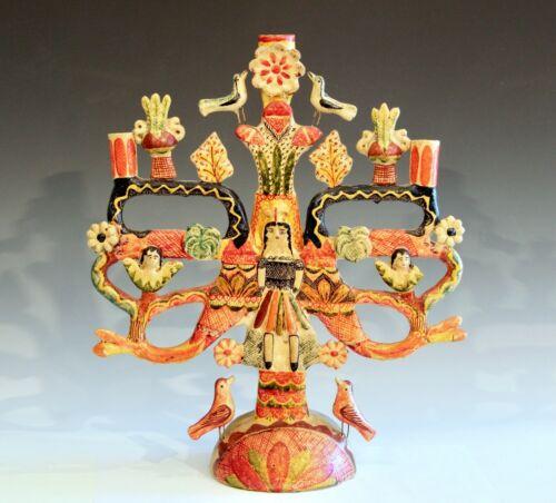 "Vintage Mexican Tree of Life Pottery Aurelio Flores Candelabra Sculpture 18"""