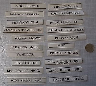 100 ALL DIFFERENT ANTIQUE APOTHECARY CHEMIST STRIP LABELS SOME IN LATIN