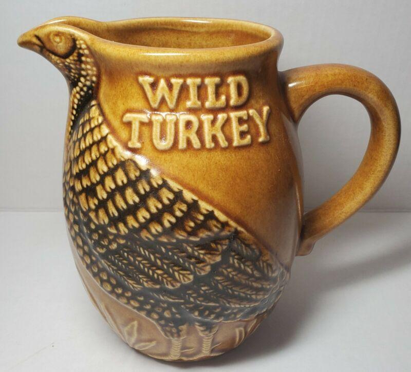 VTG WILD TURKEY Majolica STONEWARE WHISKEY PITCHER JUG BOTTLE ADVERTISING BAR