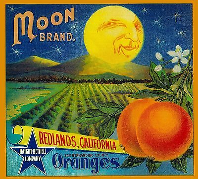 Redlands Moon Brand California Orange Citrus Fruit Crate Label Print (California Orange Crate Label)
