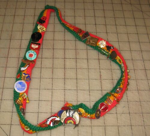 Vintage Shriner Green, Yellow, Red Knit Necklace Filled with Pins, Tie Tacks etc