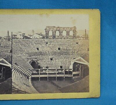 1850/60s Stereoview Photo Italy Arena Di Verona Amphitheatre Italia