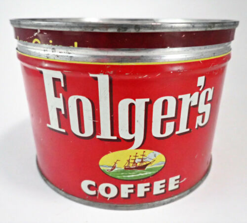Vintage Folgers Coffee Tin W/ Lid Red Mountain Grown