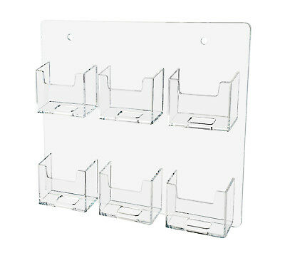Business Card Holder Clear Acrylic Vertical 6 Pocket Wall Mount 12