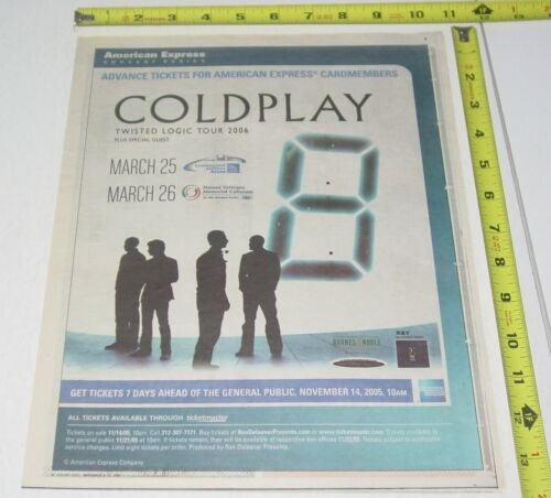 Coldplay Live Concert AD Advert 2005 Twisted Logic Tour Continental Airlines NJ