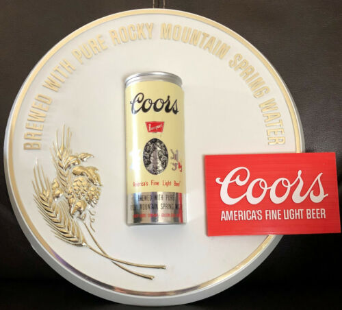 New Old Stock COORS 1977 3-D Plastic Beer Sign w/Raised 16 Oz Beer Can