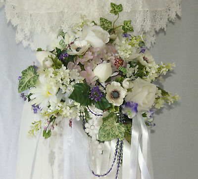 (Lavender and Lace Wildflower Garden Silk Wedding Bouquet)