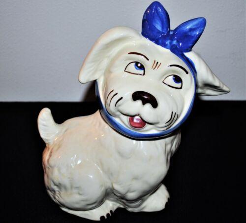 VINTAGE U S A SHAWNEE POTTERY BLUE & WHITE MUGGSY DOG COOKIE JAR EXCELLENT