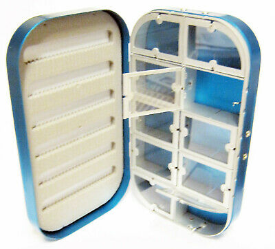Aluminum Blue Satin 10 Compartment Fly Box Nymphs Wet Dry Flies Rods Reels Hook