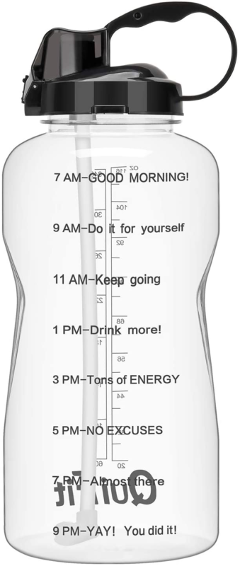 QuiFit Motivational 64 oz Water Bottle With Straw & Time Mar