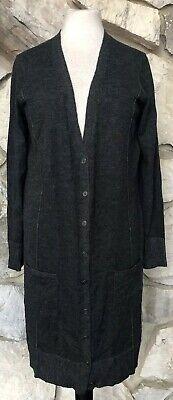 Eileen Fisher Charcoal Merino Wool Long Boyfriend  Duster Cardigan Sweater Sz M