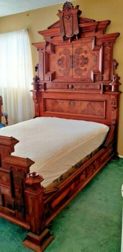 Antique Victorian Burl Walnut Bedroom Set Full Bed with Wide Marble Top Dresser