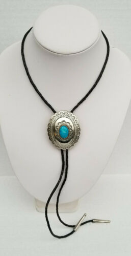 Vintage Mexico Sterling Silver Natural Turquoise/Blue Stone Bolo Tie