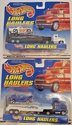 Hot Wheels Long Haulers Set Of 2 '57 T-Bird & '58 Corvette New In Packages (B4)