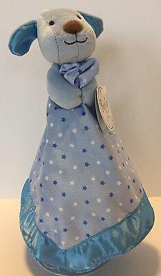 New Prestige Baby Blue Stars Puppy Dog Lovey Blanket Satin Trim