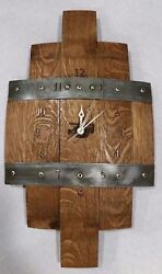 Wine barrel stave wall clock with numbers