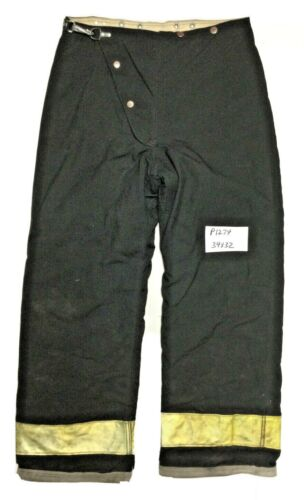 34x32 Globe Black Firefighter Turnout Pants with Yellow Reflective Tape P1274