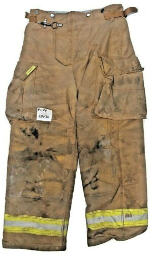34x30 Securitex Brown Firefighter Turnout Bunker Pants Yellow Reflective P1194