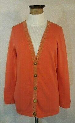 MICHAEL KORS Cardigan Sweater ORANGE CREAMSICLE w/ GOLD LUREX TRIM Womens Large