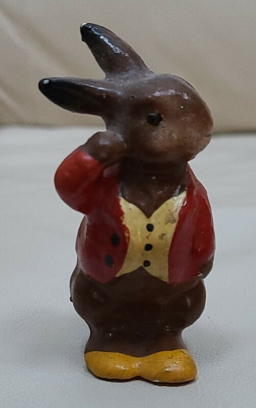 Vintage Composition Easter Bunny Figure  Germany Rabbit Painted