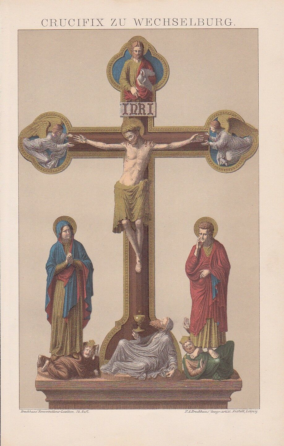Kruzifix von Wechselburg Kloster 12. Jahrhundert CHROMOLITHOGRAPHIE von 1898 Zs