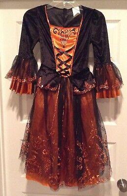 Halloween Witch Costume Dress Girl's Size Medium Black Orange with Hat