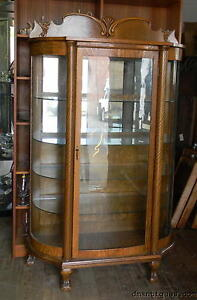 Antique Victorian Quartered Oak China Cabinet Curved Glass Mirror Back Paw Foot