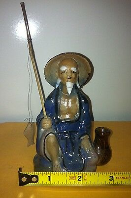 "Chinese Ceramic Fisherman 4"" tall"