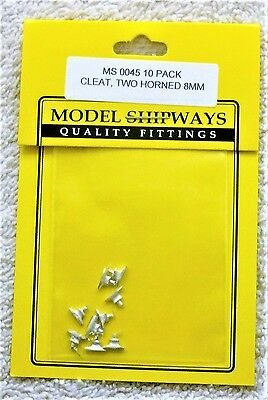 "Model Shipways Fittings MS 0045 Two Horned Cleats 3/8"" (8MM). 10 Per Pack. NEW"