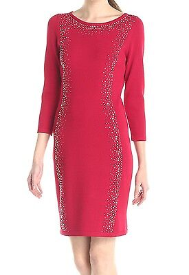 Calvin Klein NEW Red Womens Size Large L Embellished Sheath Dress $139 129