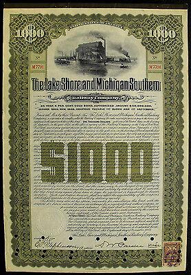 USA Lake Shore and Michigan Southern Railway gold bond 1903 Eisenbahn deko