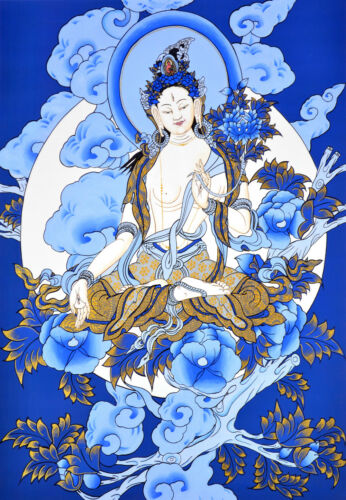 "17"" BLESSED NATURAL MINERAL SILKPRINT TIBET BLUE THANGKA: ICE MOON WHITE TARA"