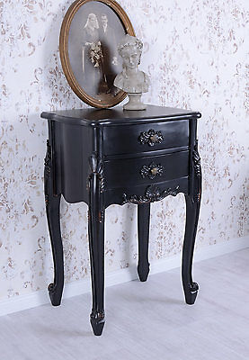 Nachtkommode Antik Nachtkästchen Schwarz Kommode Vintage Konsolentisch