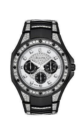 Bulova Men's 98C102 Quartz Swarovski Crystal Accents Black Bracelet 47mm Watch