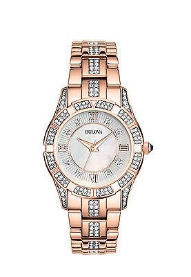 Bulova Women's 98L197 Quartz Mother-of-Pearl Rose Gold-Tone Bracelet 31mm Watch