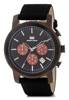 BERGEN-DESIGN Echtholz Herren Armbanduhr, Chronograph, Modell Bodo, Sandelholz
