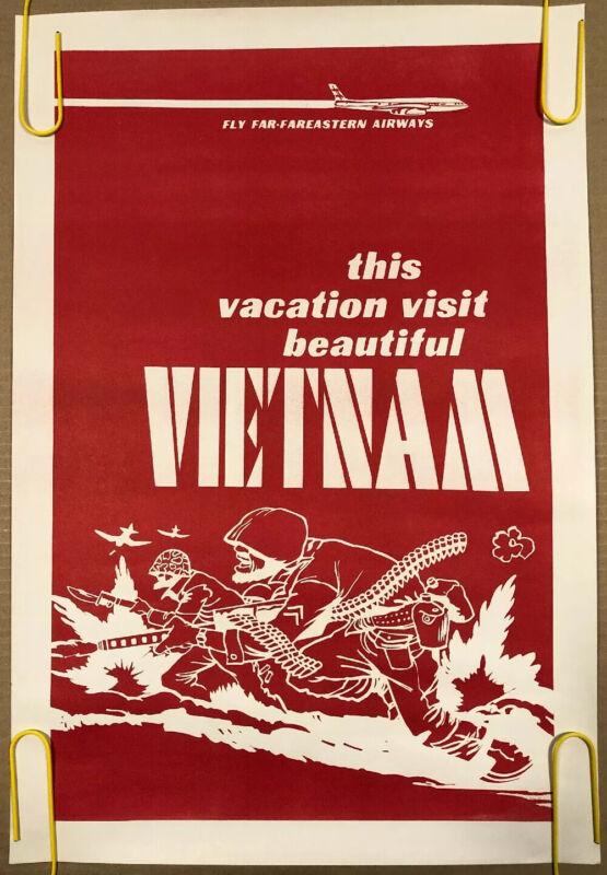 Original Vintage Poster Beautiful Vietnam Political Comedy USA War Army 1970's
