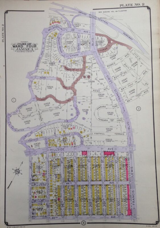ORIG 1942 E. BELCHER HYDE ATLAS MAP HOLLISWOOD QUEENS NEW YORK 20 X 28