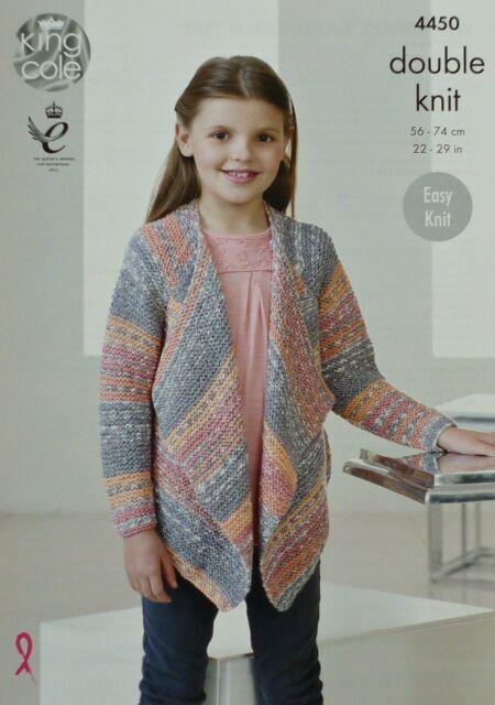 KNITTING PATTERN Childrens Easy Knit Long Sleeve Waterfall Cardigan DK KC 4450