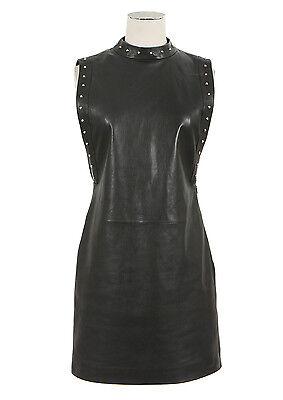 Saint Laurent YSL (Hedi Slimane) Studded Leather Shift Dress Size 34