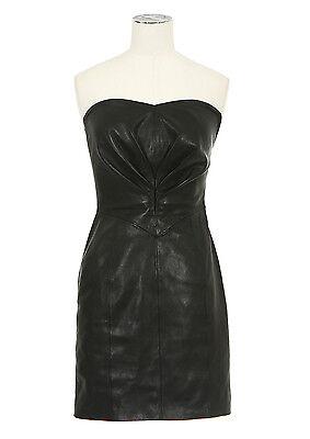Saint Laurent Slimane YSL Heart-Shaped Bustier Dress in Black Leather FR 34 XXS