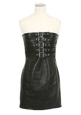 Saint Laurent YSL Buckled Leather Bustier Strapless Dress Black FR 34 - $5,950