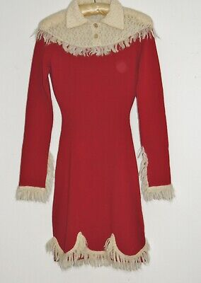 Bella Freud Red / Off White Sweater Knit Dress XS