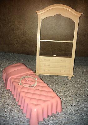 Vintage Barbie Furniture Bedroom Lot - Bed & Dresser